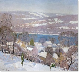 pennsylvania-impressionist-impressionism-painting-by-kenneth-nunamaker-over-looking-the-delaware-from-center-bridge-1928-original-size-22-x-24
