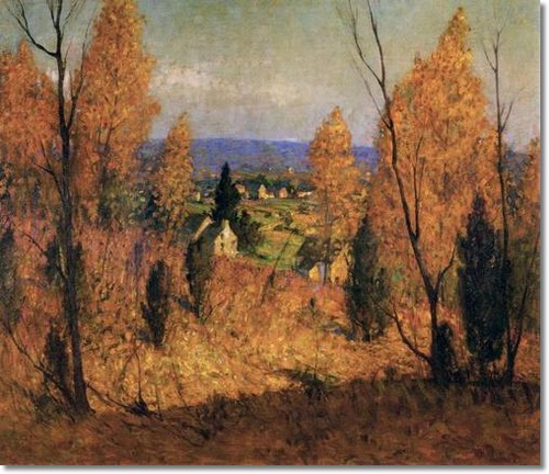 pennsylvania-impressionist-impressionism-painting-by-george-sotter-autumn-gold-1930-original-size-22-x-26-bucks-county